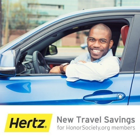 HonorSociety.org is excited to announce its latest membership benefit, Hertz rental car discounts (PRNewsFoto/HonorSociety.org)