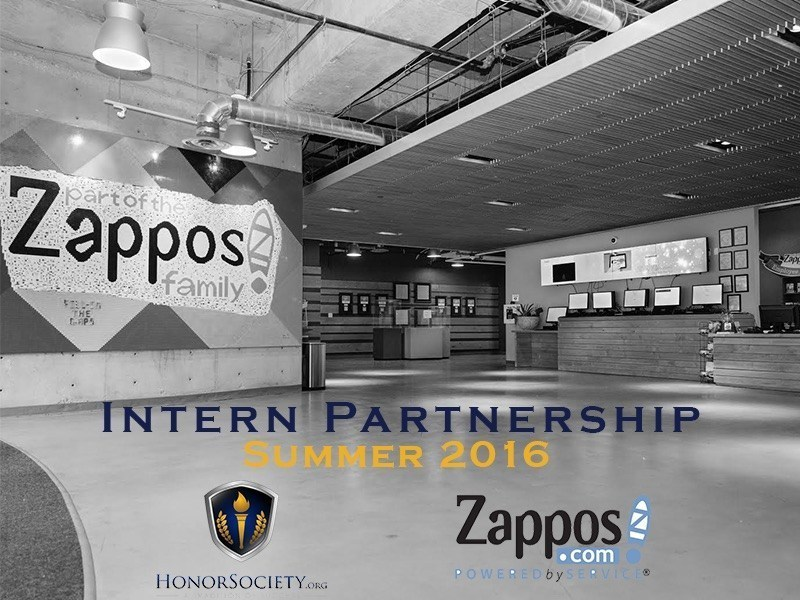 HonorSociety.org and Zappos announced this month their internship partnership for college internship opportunities at the Zappos headquarters in Downtown Las Vegas, NV for 2016. (PRNewsFoto/HonorSociety.org)